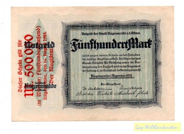 16.8.23, Üdr. a. 500 Mk v. 1.12.22, ohne hdschr US - (Sie sehen ein Musterbild, nicht die angebotene Banknote)