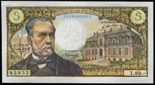 Bouchet/Morant/Tondu, 1.8.68, 5.6.69 - (Sie sehen ein Musterbild, nicht die angebotene Banknote)